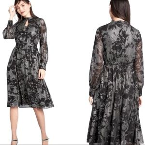 Modcloth More to Adore Long Sleeve Silver Black Dress